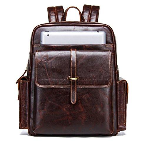'Contacts vero cuoio zaino vintage College schultasche viaggio Daypack Con 14MacBook Laptop, caffè