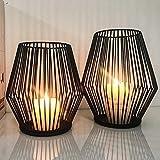 Set di 2 candelabri ovali, portacandele in metallo, decorazione per soggiorno, tavolo e candele, stile vintage, decorazione i