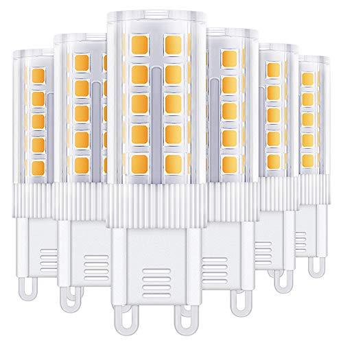 6er 4W G9 LED Lampe,Nasharia 450 lumens 360°Abstrahlwinkel/ 4W ersetzt 40W Halogenlampen/Warmweiß 3000K/G9 LED Leuchtmittel Birne/AC 220-240V