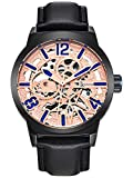 Alienwork Automatic Watch Self-winding Skeleton Mechanical Leather rose gold black K003A2B-03