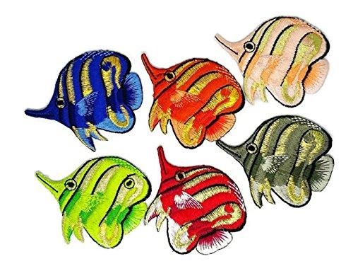 Set 6Mix Cartoon Fisch Set Gummibänder Cartoon Kids bestickt Nähen Eisen auf Patch Cartoon Nähen Eisen auf bestickte Applikation Craft handgefertigt Baby Kid Girl Frauen Tücher DIY Kostüm Zubehör
