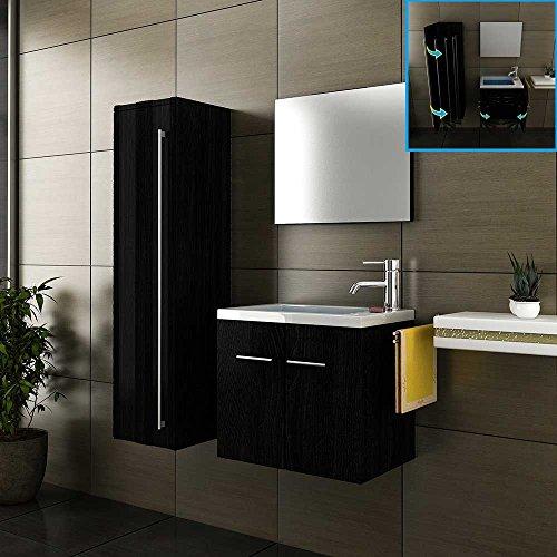 Badmöbel Komplettset mit Waschbecken aus Mineralguss, Unterschrank, Hochschrank und Design-Spiegel