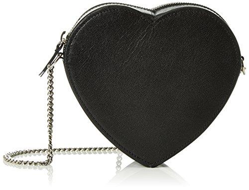kaviar gauche - Little Heart Bag saffiano, Borsa a tracolla Donna Nero (Nero (Black/Silver))