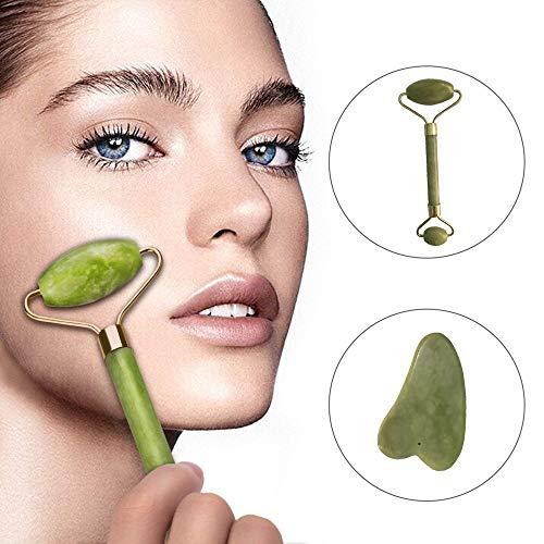 TAOtTAO Royal Jade Roller Massagegerät Gesicht Abnehmen und Massagegerät Werkzeug Gesichtsmassage Puderkristall natürliche Jade...