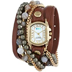 La Mer Collections Damen LMMULTI2011 Positano Gold Chateau Case Cognac Layer Strap Indian Agate Pyrite 14K Gold-Plated Jewelry Chains Armbanduhr