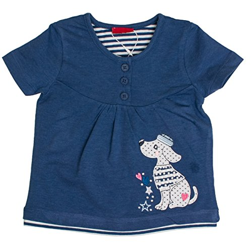 SALT AND PEPPER SALT AND PEPPER Baby-Mädchen T-Shirt B Summer Knöpfe Uni, Blau (Cornflower Blue Melange 465) 68