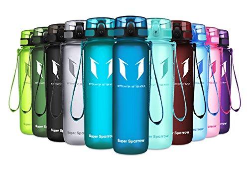 1 Kostenlose Flasche (Super Sparrow Trinkflasche - Sports Wasserflasche - 500ml &1000ml - Eco Friendly & BPA-freiem Kunststoff - Ideale Sportflasche - für das Laufen, Fitness, Yoga, Im Freien und Camping - Schnelle Wasserdurchfluss , Flip Top, öffnet sich mit 1-Click - Wiederverwendbare mit dicht schließendem Deckel (Methylblau, 1000ml-32oz))