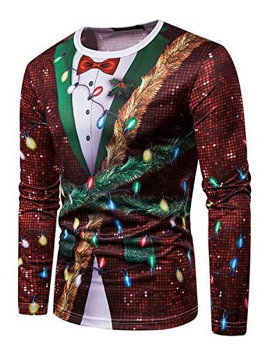 YCHENG Camiseta Navidad Hombre Moda Mangas Largas Casual Santa y Nieve Alces Tops (M, Color 6)