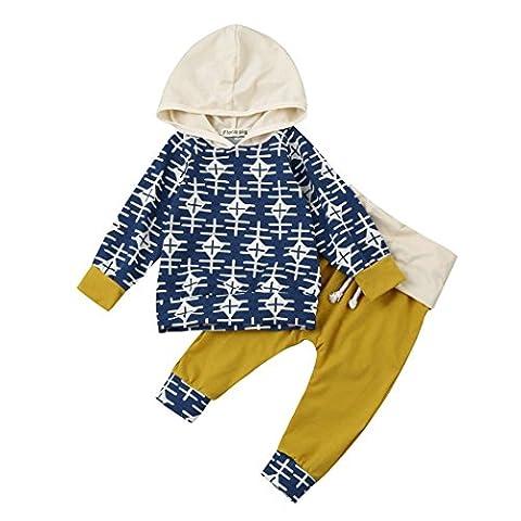 Babykleidung Hirolan Mode Kleinkind Säugling Baby Mädchen Jungen Geometrie Drucken Party Kleider Set Kapuzenpullover Lange Hülse Tops + Hosen 6-24 Monate Outfits (70cm, Blau)