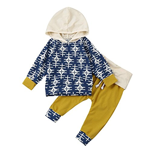 Babykleidung Hirolan Mode Kleinkind Säugling Baby Mädchen Jungen Geometrie Drucken Party Kleider Set Kapuzenpullover Lange Hülse Tops + Hosen 6-24 Monate Outfits (80cm, Blau) (Herren Party Kleid)