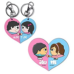 Couple Keychain & Fridge Magnet Combo Gift for Love Valentines Day Gifts for Him Her