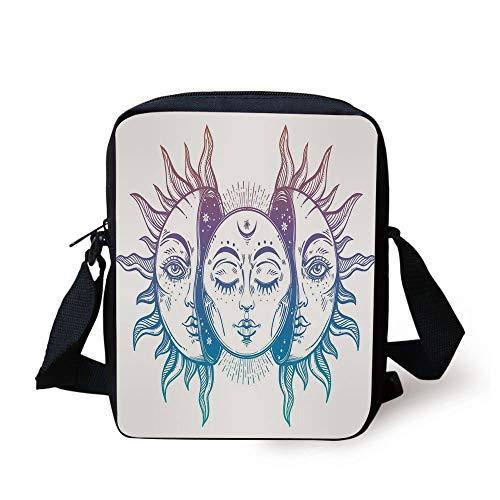 Designer Inspired Bag Purse Handtasche (CBBBB Moon,Psychedelic Representation Heavenly Bodies Faces Eastern Oriental Inspired Image Decorative,Lilac Blue White Print Kids Crossbody Messenger Bag Purse)