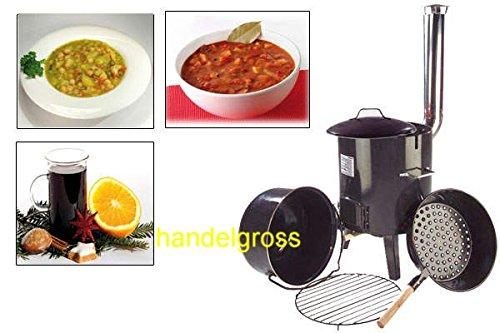 Eintopfofen Glühweinofen Feldküche Suppenkessel Maronipfanne 14 l