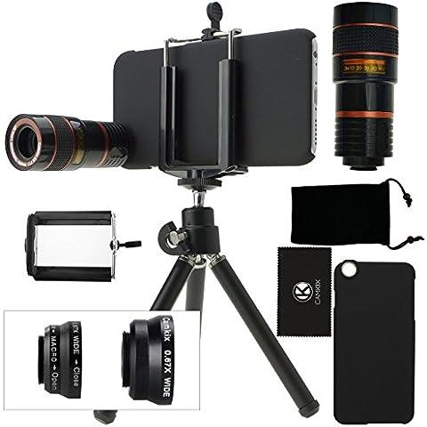 Juego de Lentes para Camara iPhone 6 / 6S incluye Lente Telefoto 8x / Lente Ojo de Pez / Lentes 2 En 1 Macro y Gran Angular / Mini Tripode / Sujetador para Telefono Universal/Anillo Sujetador del Lente Telefoto / Estuche Duro para iPhone 6 / 6S / Bolsa para Telefono de Terciopelo / CamKix® Paño de Micro Fibra para Limpiar – Asombrosos Accesorios Adjuntos para su Camara iPhone 6 / 6S (negro)