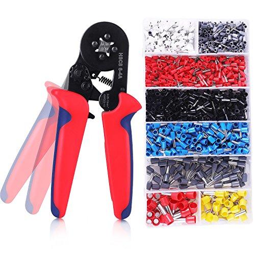 Crimpzangen Set ,Zwinge Crimper Zange mit 1200 PCS Aderendhülse Kabelschuhe Crimpwerkzeug 0.25-10mm² Crimpwerkzeuge für isolierte unisolierte Aderendhülsen Ratsche Kabelschuhe