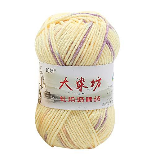 VICKY-HOHO 1PC 50g Chunky Bunte Hand Stricken Baby Milch Baumwolle häkeln Strickwolle H