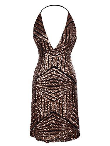 Anna-Kaci Damen Glitzer Paillette Neckholder Rückenfrei Ärmelloses Hauteng Cocktailkleid Schlank Mini Kleid (Hautenges Mini)