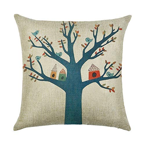 Cartoon Tree Bird Oil Painting Cushion Covers 120g Thick Cotton Double-Sided American Country Style Pink Blue Square Pillow Case for Home Chair Sofa Bed Shop Office Decor 45cm x 45cm(18 x 18inch) (Queens Halloween-partys 2019)