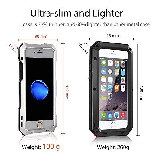 Arblove iPhone 8 Plus,iPhone 7 Plus Kit Custodia Impermeabile Con 3 Lenti Cellulari,Ultra Sottile e leggero IP 54 360 Grado Alluminio Waterproof e Full Sealed Antiurto Antipolvere Cover Case per iPhon Argento
