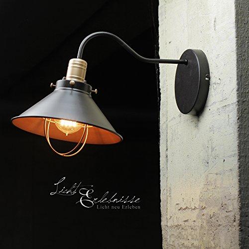 Vintage Wandleuchte/schwarz/1x E27 bis max. 60W 230V/Wandlampe Industrie-Design/Retro Loftlampe Wohnzimmer Beleuchtung innen