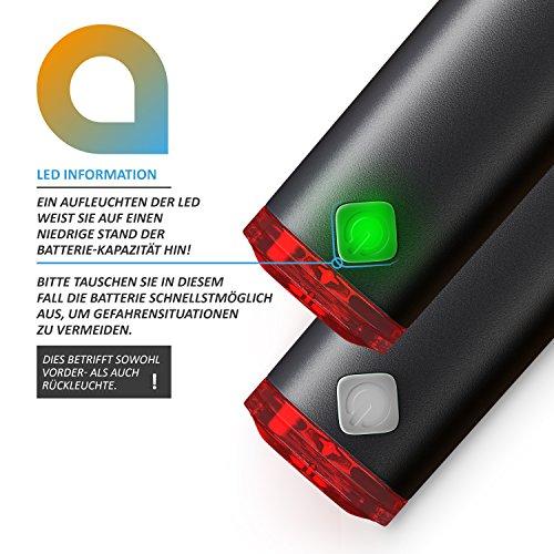CSL – StVZO LED Fahrradbeleuchtung Set | Modell DG320 | Fahrradlampen / Fahrradlicht / Fahrradlampenset inkl. Front- und Rücklicht | helle LED (30 Lux) | energiesparend | Regen- und Stoßfest - 4