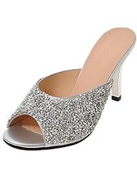 JYshoes High Heels Slingback Sandalen mit Spitze und 9cm Absatz Riemchen Pumps Sommer Damen