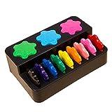 YEAHIBABY Crayons pour Tout-Petits,Forme de Flocon de Neige Crayons Palm-Grip Crayons Non Toxiques Outils de Peinture Set pour Bébé Enfants,12 Couleurs