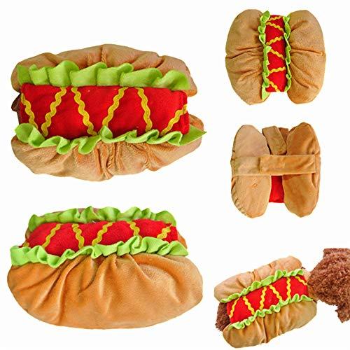 Fansu Halloween Kostüm Hund Haustier Hund Katze Halloween Kostüme, Einstellbare Warme Kleidung Netter mit Kapuze Pullover Hundepullover Party Cosplay Dekoration (XS,Hot Dog)