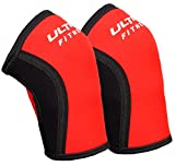 5mm Knee Sleeves (1 Pair) Compression for Weightlifting, Powerlifting Best Squats Knee Support, Red, S