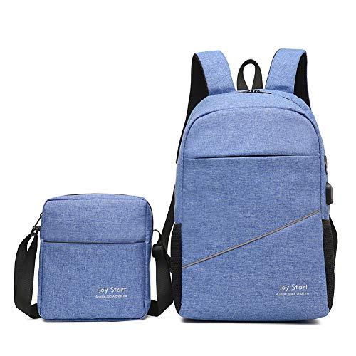 WANGFF Freizeit Reise Rucksack mit USB Multifunktions Laptop Bag (Unisex),Blue
