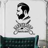 Knncch Barbería Pegatina De Pared Barber Shop Ventana Calcomanía Barber'S Logo Mural Decoración De Peluquería Vinilo Extraíble Pegatinas De Corte De Cabello