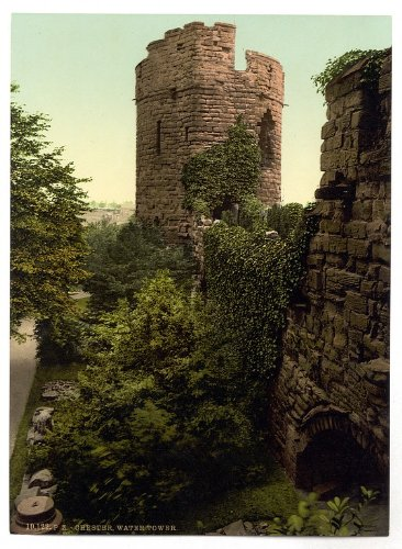 Victorian View of the Water Tower, Chester, Cheshire, England, Large A3 misura 41 by 28 cm tela Testurizzati sottile carta fotografica stampa fotografica