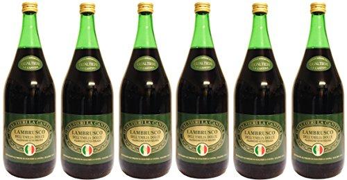 Lambrusco rosso dolce Gualtieri Dell`Emilia IGT (6 X 1,50 L) - Vino Frizzante - Roter Süßer...