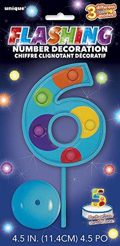 Unique Party- Decoración de tarta intermitente número 6, Multicolor (37036)