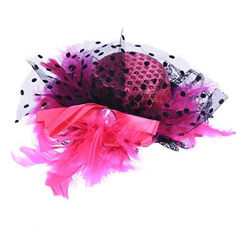 BESTOYARD Damen Mädchen Federhüte mit Clips Party Kopfschmuck Kopfbedeckung für Maskenade Cosplay Bankett Bühnenauftritt (Rosa) - Rosenkranz Clip