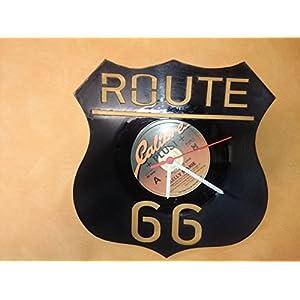Wanduhr Uhr Route 66 Chronometer aus original Vinyl Schallplatte Upcycling Design Uhr Wand-Deko Wand-Dekoration