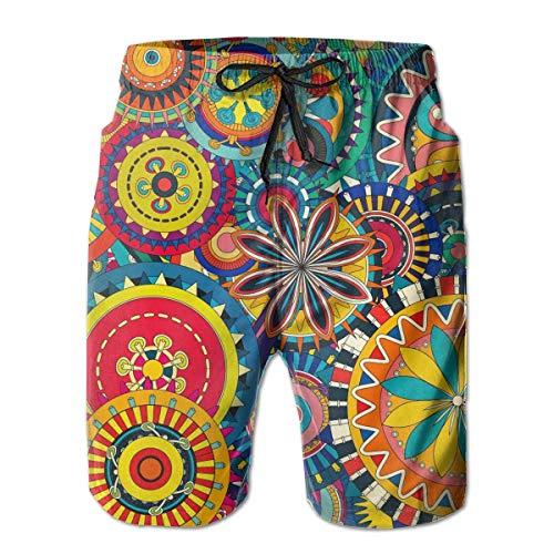 Psychedelic Trippy Mandala Flower Gear Bañador Hombre Extreme Comfort Short de Carga para Playa Deporte al Aire Libre Cordón de Secado rápido Shorts básicos con Bolsillos Ropa de Playa M