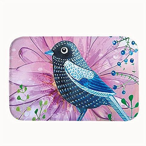 whiangfsoo pájaros acuarela Super absorbente alfombrilla de baño puerta esteras, #01, 16