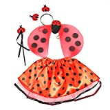 BESTOYARD Disfraz Mariquita Niño Hada alas Varita Diadema con falda de tutú 4pcs