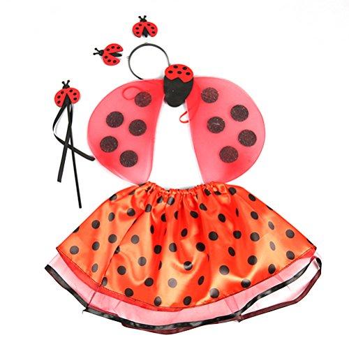 BESTOYARD 4 stücke Mädchen Marienkäfer Kostüm Set Marienkäfer Antenne Stirnband Marienkäfer Flügel Tutu Rock und Fee Zauberstab (Kostüm Marienkäfer Einfach)