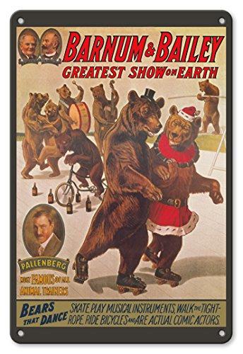22cm x 30cm Vintage Metallschild - Barnum & Bailey Zirkus - Größte Show der Welt - Tanzbären - Vintage Retro Zirkus Plakat - Tanzbären