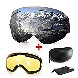 Masque de ski ou snowboard avec traitement anti-buée et protection anti-UV - Verres sphériques doubles interchangeables - Pour hommes, femmes et enfants, Silver
