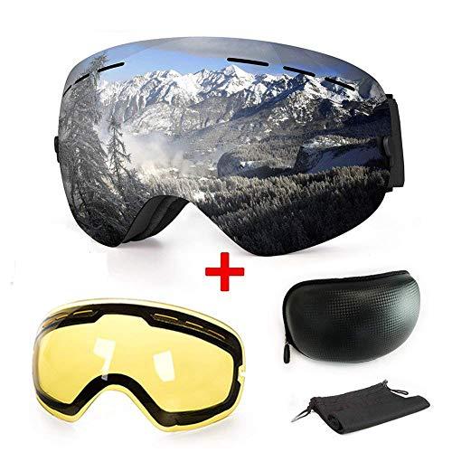 b094af489e WLZP [2019 New] Masque de Ski ou Snowboard avec Traitement Anti-buée et  Protection Anti-UV - Verres sphériques Doubles interchangeables - pour  Hommes, ...