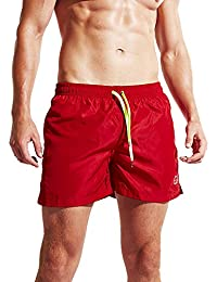 Mens Beach Shorts Quick Dry Swim Trunks for Men with Pockets Surfing Swimming Watershort, 31red, M-tag Asia XL-waist 30-35 inch