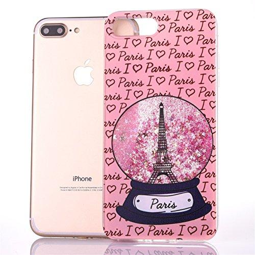 iPhone 7 Plus 5.5 Hülle, Voguecase Silikon Schutzhülle / Case / Cover / Hülle / TPU Gel Skin für Apple iPhone 7 Plus 5.5(Perlen Treibsand - MISS BOSS - Gold) + Gratis Universal Eingabestift Kristallturm / Pink
