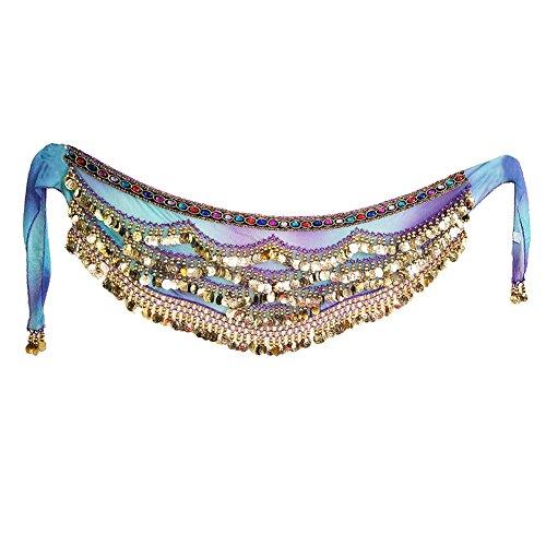 Wingbind Bauchtanz Hüfttuch Perlen Frauen Pailletten Bauchtänzerin Kostüme Zubehör Sexy Schal für Karneval Party (Kupfer Bauchtanz Kostüm)