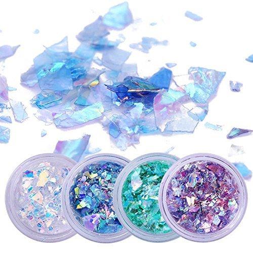 Papel de Vidrio para Uñas Arte Decoración Resplandecer Irregular Lentejuelas (4colores)