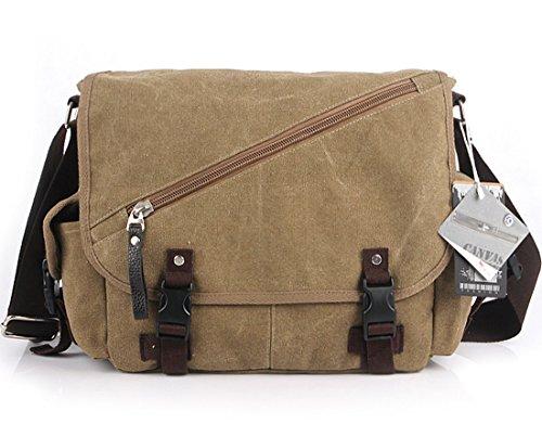 Cooler Buckle Segeltuchtasche Herrentaschen Schultertaschen Messenger Bag Khaki