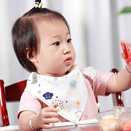 Baberos Bandana Bebé  8 pcs Baberos de 100% Algodón Orgánico Suaves y Súper Absorbentes  Hay 2 Broches de Ajustar la Longitud y Dibujos con Multicolores para bebé de Niñas de YOOFOSS