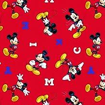 Mickey Mouse tela–SC129Mickey Mouse letras rojo–DISNEY tela, tela de cómic–0,5m múltiplos–100% algodón